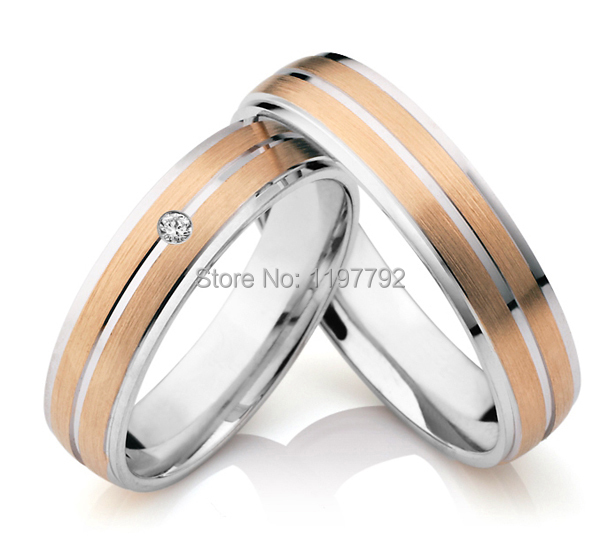 2014 discount cheap tailor made rose gold color titanium wedding band rings sets for anniversary trauringe