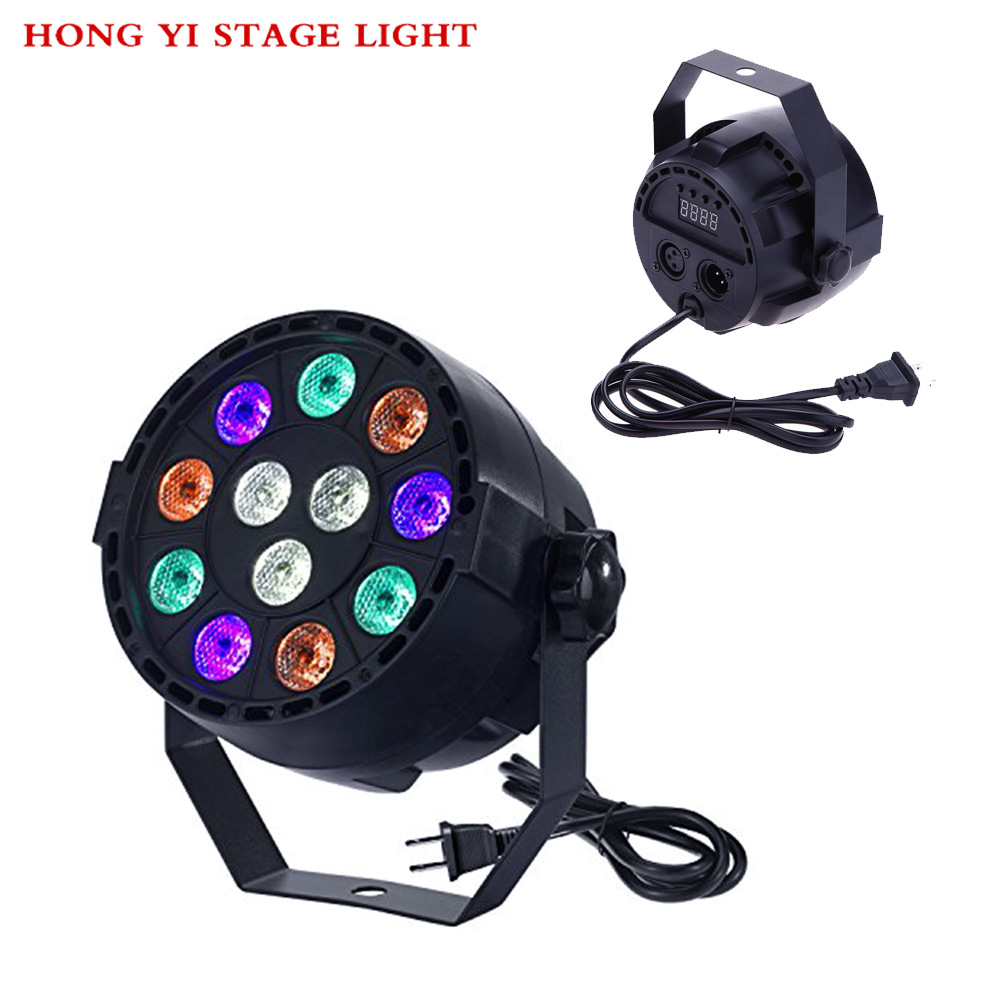 12x3W Flat LED Par RGBW DMX512 Disco Lamp Stage Light Luces Disco Teca Dmx