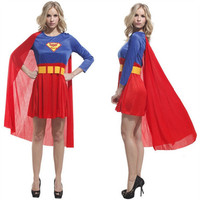 Super Woman Costumes With Cloak Halloween Adult Clothing Classic Super Hero Theme Party Performance Clothes Belted