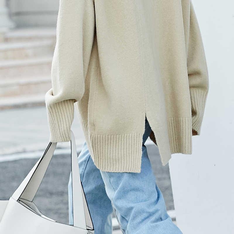 Amii Minimalistischen Rollkragen Frauen Pullover Dicken Herbst 2019 Casual Solide Seitlichem Schlitz Mode Weibliche Gestrickte Pullover Pullover