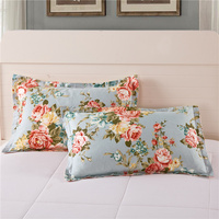 2 Pieces Flower Pattern Pillow Cases 100 Cotton Sleeping Bed Pillow Cover Super Soft Pillowcase High