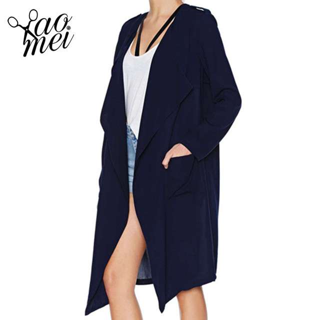 YaoMei 2017 Solid Color Fashion Women Casual Coat Long Sleeve Crew Neck Loose Coats Women Basic Brief Open Stitch Trench Coats