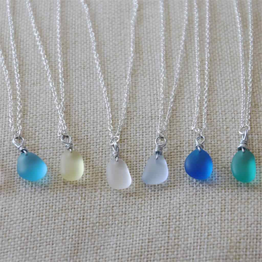 1Pcs 12-16mm Sea Glass Necklace with Silver Color Natural Sea Glass Pendant Beach Necklace Boho Jewelry for Women Gift