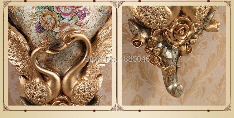 Nova marca europeia resina pavão vaso cesta de flores retro mural parede quarto sala estar decoração pingente - 3