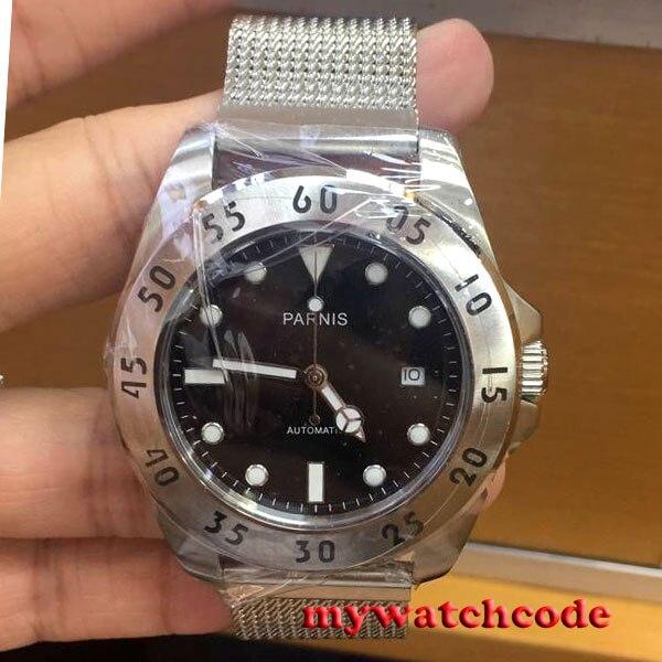 где купить 43mm Parnis black dial Sapphire Glass 21 jewels miyato Automatic mens Watch P791 по лучшей цене