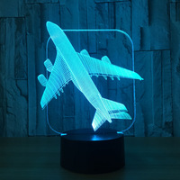 Free Shipping Air Plane 3D Light Table Lamp Optical Illusion Bulbing Night Light 7 Colors Changing