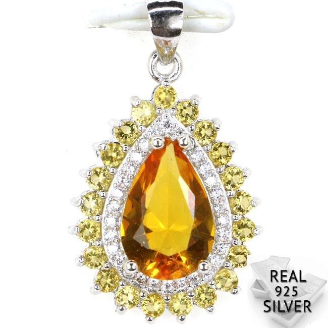 Pendant Golden-Citrine Solid-Sterling-Silver CZ Real-925 Drop-Shape 27x16 Elegant Woman's
