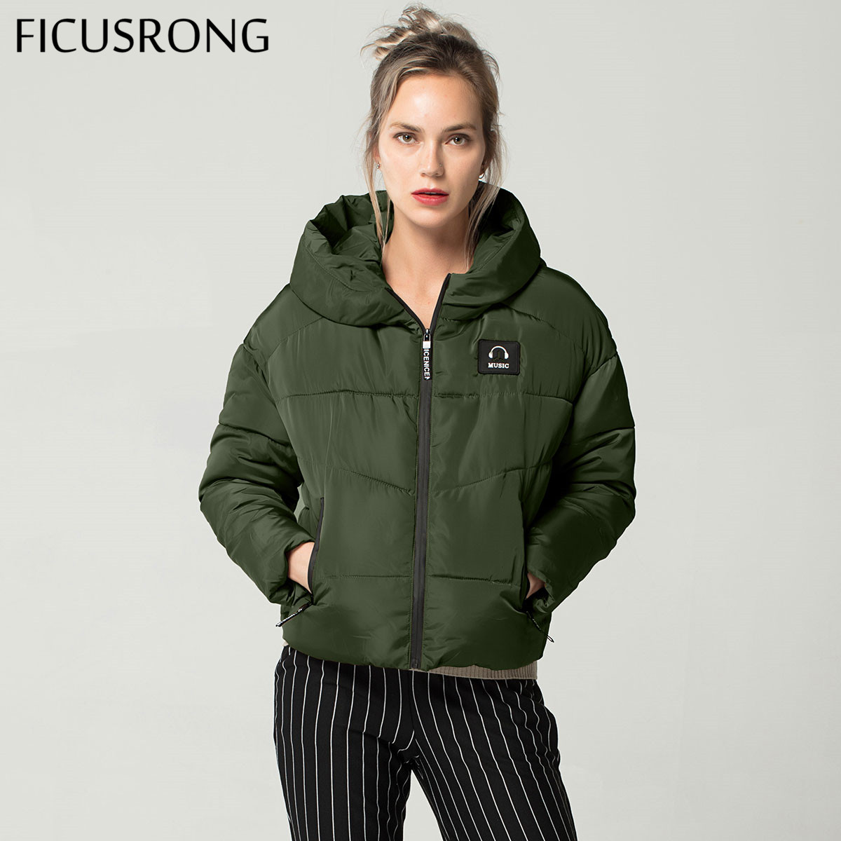 FICUSRONG New Fashion Winter   Jacket   Women Parkas Thick Outerwear Womens Hooded Coats Female Slim Cotton Padded   Basic     Jacket   Tops