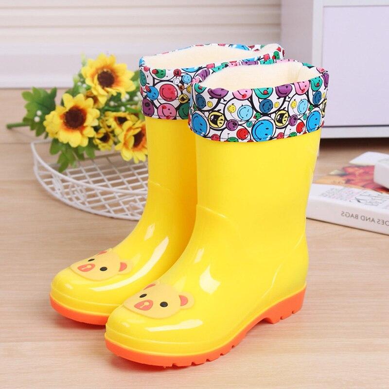 Fashion Boys Girls Shoes boots children kids rainboots cartoon cute warm Rain Boots For Girls Rubber Babys Shoes стоимость