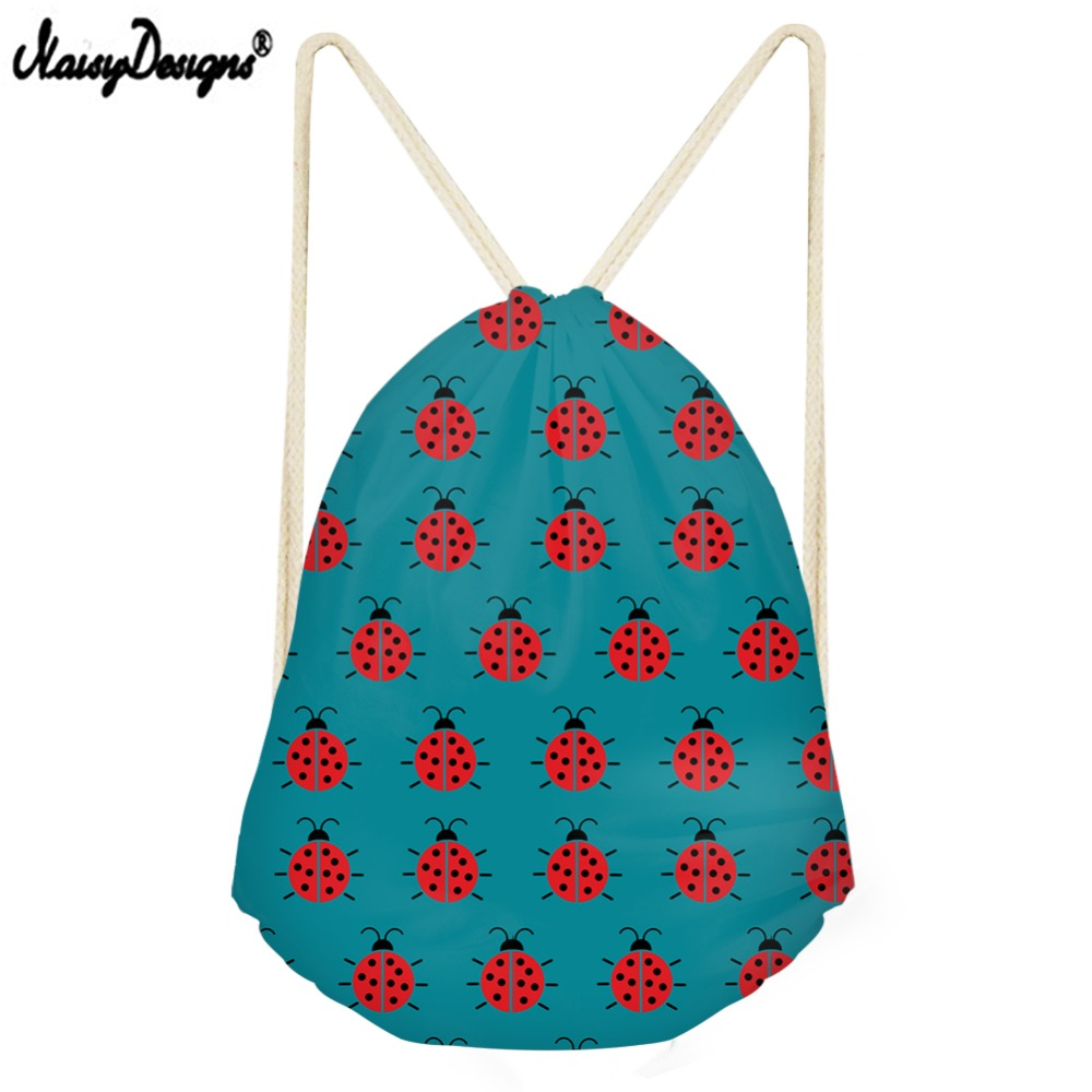 NOISYDESIGNS Causal Drawstring Bag For Miraculous Ladybug Small Children Backpacks Teenager Girls Daily Sport Bags Drop