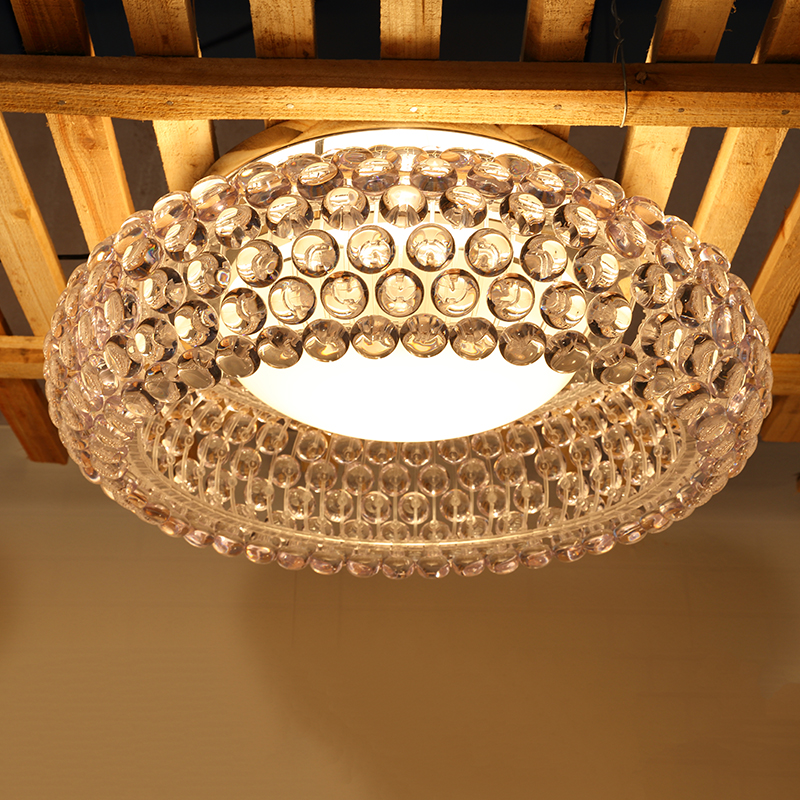 Modern Transparent Acrylic Beads Ceiling Lights Italy Design Ionic Lamps Living Room Bedroom Study Ceiling Lamp