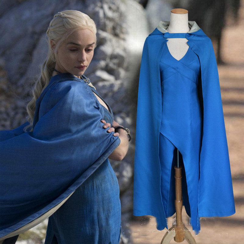 Sensfun Game of Thrones Daenerys Targaryen Cosplay Costume Blue Dress Cloak A Song of Ice and Fire Movie Cosplay Clothing