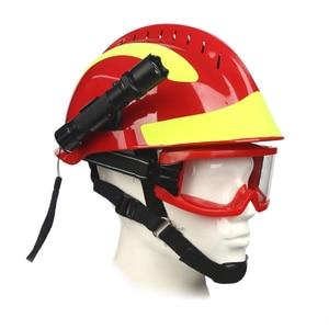 Image 1 - Veiligheid Rescue Helm Fire Fighter Beschermende Bril Veiligheid Helmen Werkplek Fire Bescherming Harde Hoed Met Koplamp & Goggles