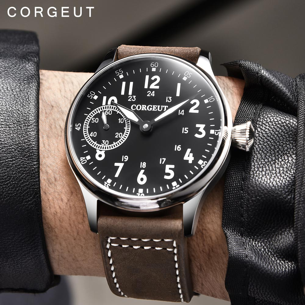 Corgeut 패션 가죽 탑 빛나는 기계 손 권선 시계 17 보석 st3600 갈매기 6497 운동 스포츠 손목 시계-에서기계식 시계부터 시계 의  그룹 1