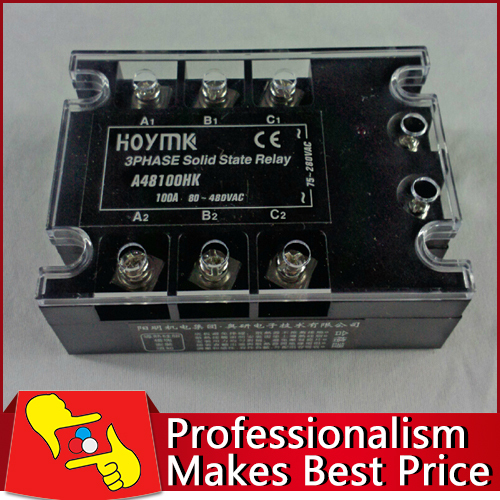 Free shipping SSR3 D48100HK three phase electronic switch 100A solid state relay new and original sa340100d sa3 40100d gold three phase solid state relay 480vac 100a