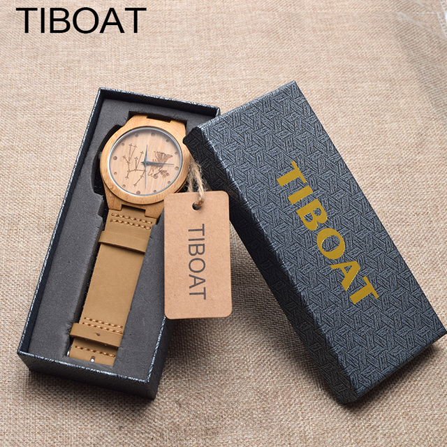 TIBOAT Virgo Cluster Creative Watch Men Bamboo Watches Real Leather Women Wristwatch Wood Watches Gifts relogio masculino