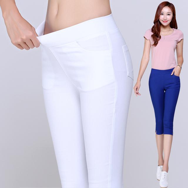 2016 Estilo Verão Doce Cor Capris Calças de algodão Mulheres Calças Finas Senhoras de Cintura Alta Calças lápis Elástica Plus Size S-3XL