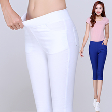 2016 Summer Style Candy Color Capris Pants Women cotton Thin Pants Ladies High Waist Elastic Plus Size S-3XL pencil Pants
