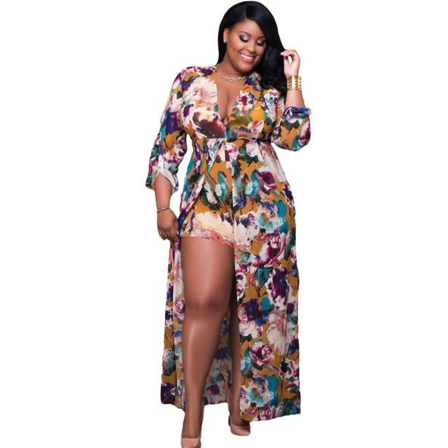 2017 Mulheres jumpsuit tecido floral da cópia do vintage maxi romper manga longa roupas boho estilo plus size XXXL sexy macacões A64221