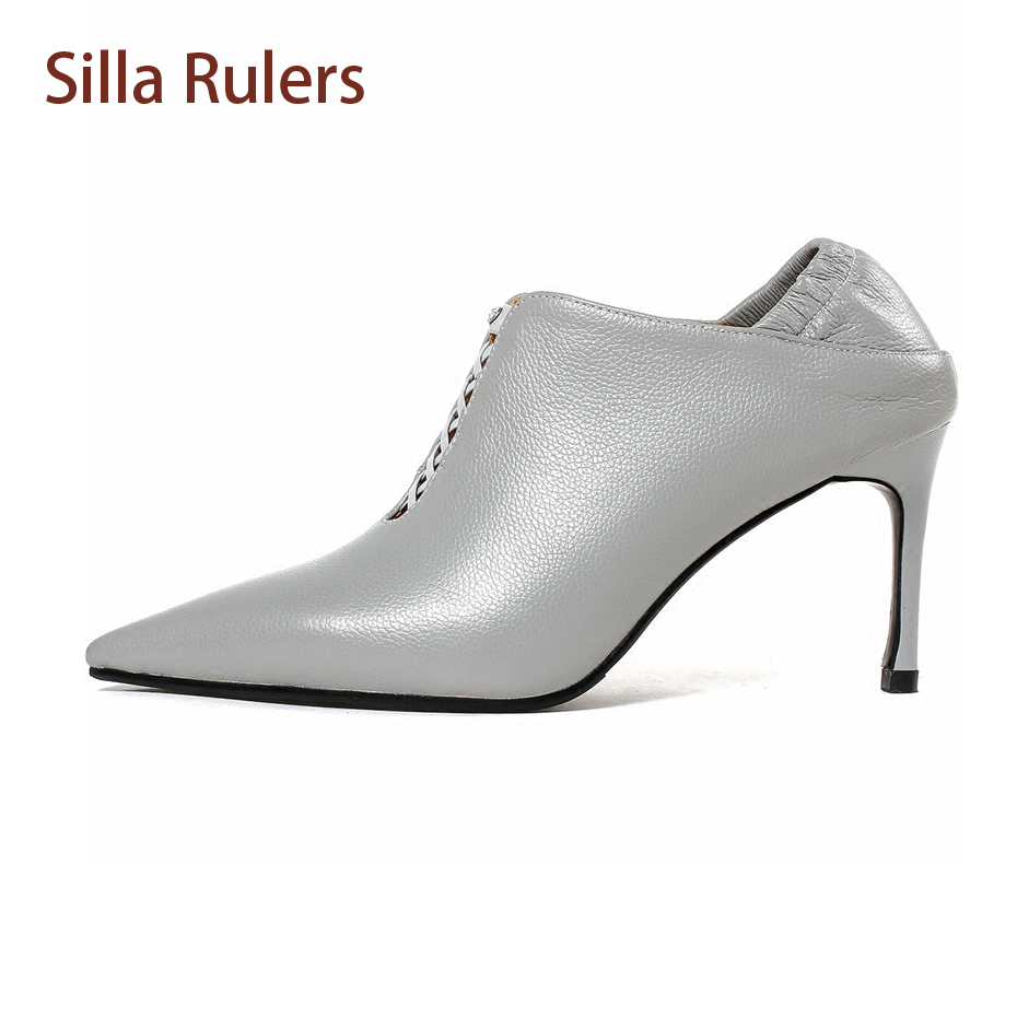 Silla Rulers Spring Autumn New Genuine Leather High Heel Fashion Shoes Women Pumps Pointy Toe Hollow Out Sexy Lady Party Shoes картридж brother tn 3380 page 9