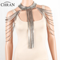 CHRAN Silver Full Metal Body Shoulder Chain Jewelry Necklace Waist Bikini Harness Dress Decor Slave Body