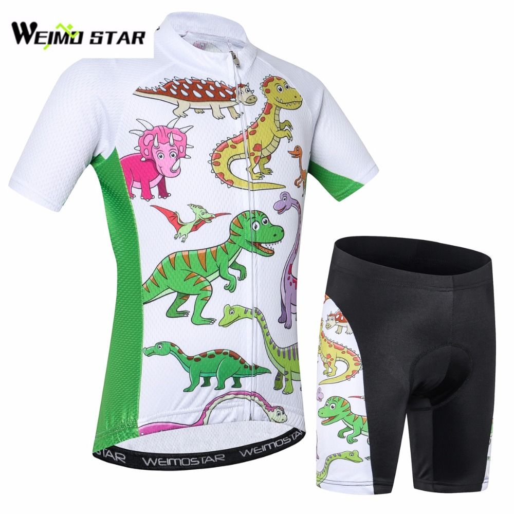 cycling jersey White dinosaur ropa ciclismo Boy/girl Breathable children bike/bicycle wear short clothing