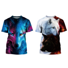 Summer New Animal Digital Print Wolf Children Short Sleeve T-Shirt Boy Fashion Girls Tops Tees Casual Clothes Kids Black Shirt