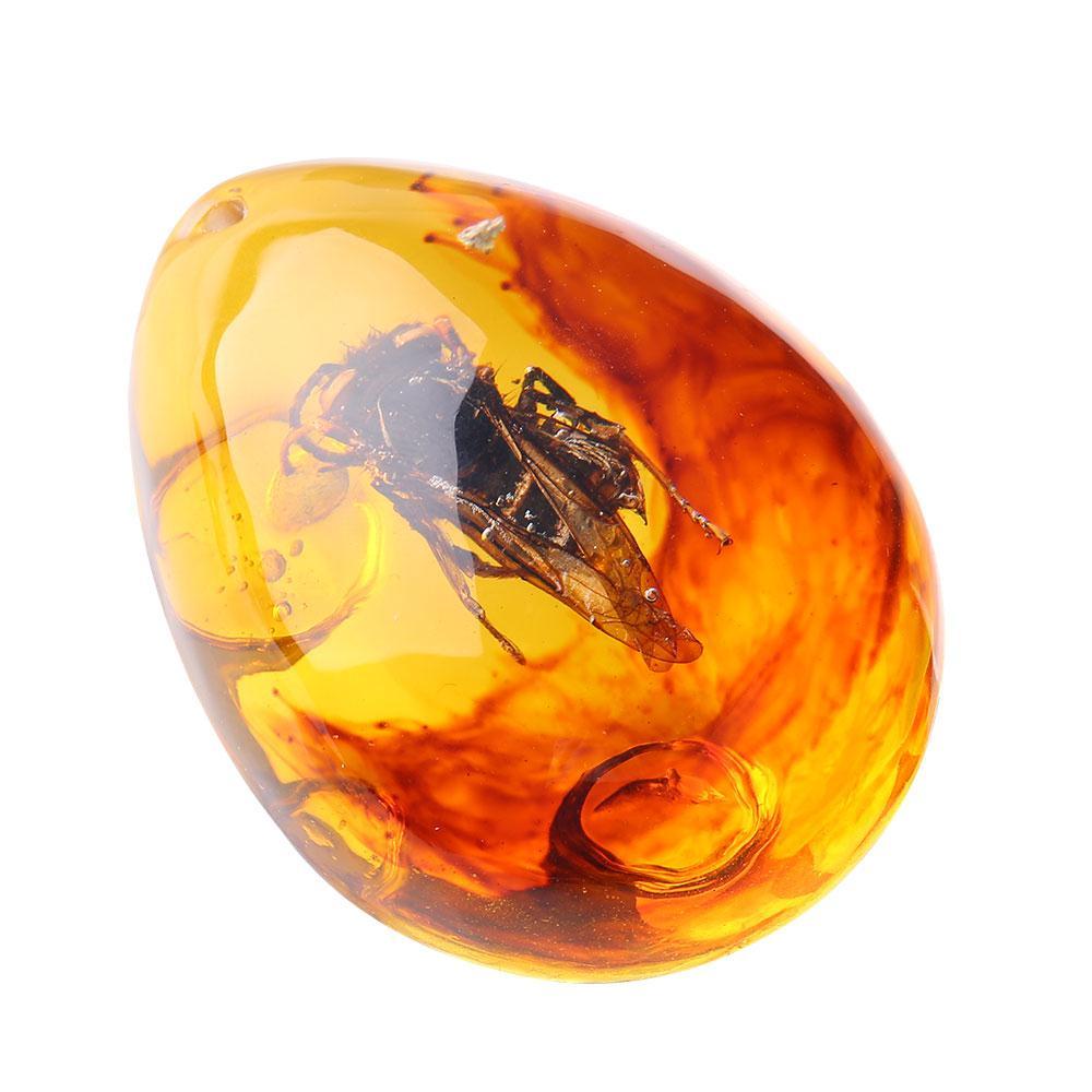 Насекомые янтарный кулон камень янтарные ювелирные изделия кулон насекомые в подвеске украшения ожерелье украшения для свитера ремесла подарок - Цвет: Bee