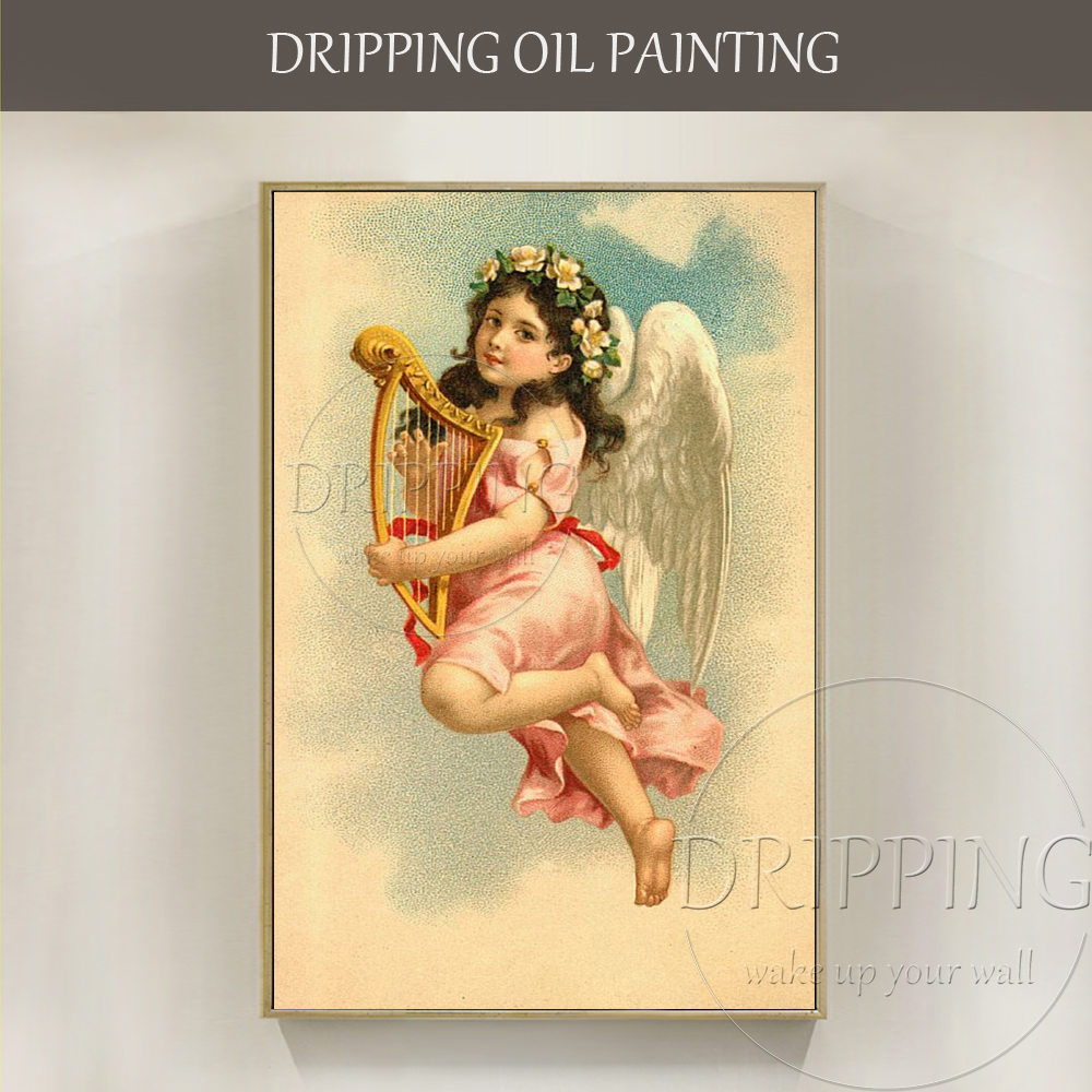 Luxury Artwork Hand-painted High Quality Vintage Religious  Angel Oil Painting on Canvas Wall for Living Room