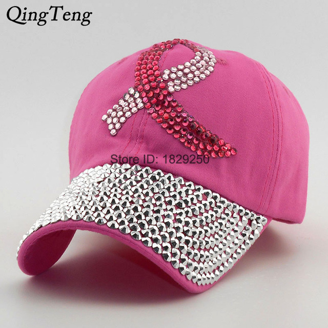 Colored Ribbon Women Studded Crystals Rhinestones Sequins Baseball Cap Pink  Swag Fashion Bling Casual Hat Female Outdoor Hats 91855bdb9d3