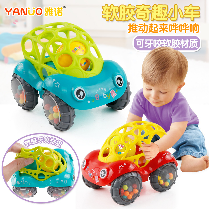 New Children's Toy Car Funny Music Fun Soft Toy Car Inertia Sliding With Colorful Ball Anti-fall Children's Toy Car