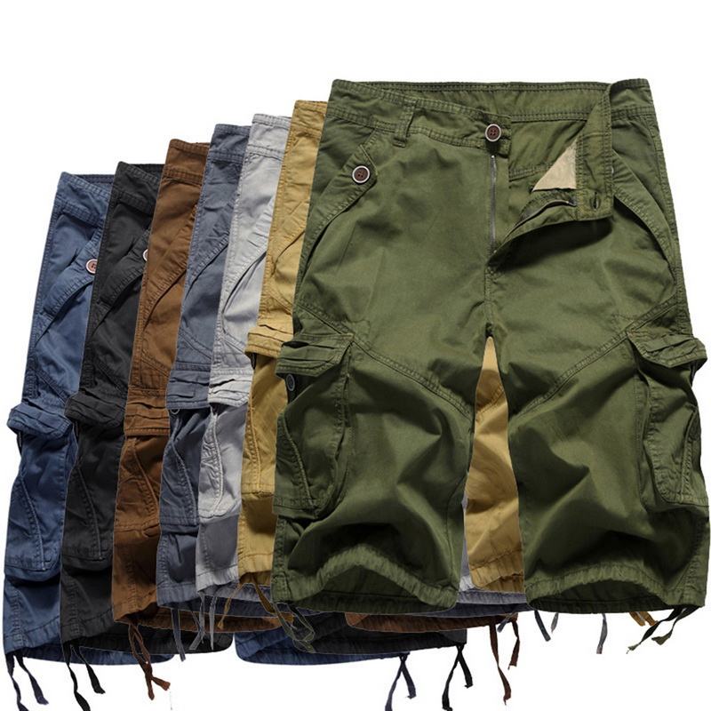 LASPERAL 2018 Summer Men Summer Cargo Short Solid Camouflage Military Work Short Male Loose Knee Length Man Shorts Plus Size