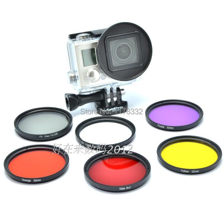 Sada 6v1 52mm potápěčského filtru s adaptérovým kroužkem 6ks UV / Žlutá / Červená / Fialová Podvodní filtro Barvy ive pro GoPro Hero 3+ 4