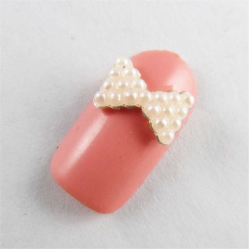 10pcslot White Pearl Bow Tie Nail Art Decorations New Fashion