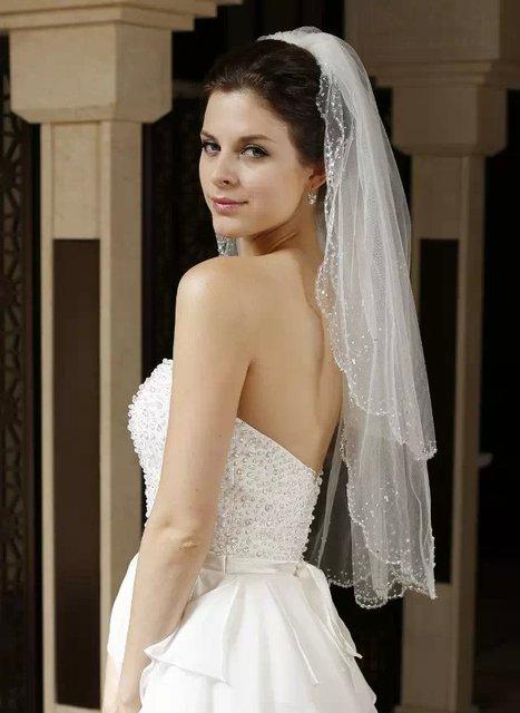 Elegant New Design Wedding Veil Custom Made Tulle Veil For Bride Wedding Two Layers Beads Edge Veil Beaded Veil