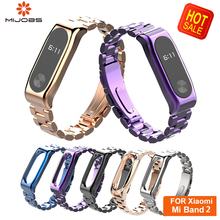 Mijobs Metal Mi Band 2 Strap Bracelet Smart Accessories for Xiaomi mi band Stainless Steel