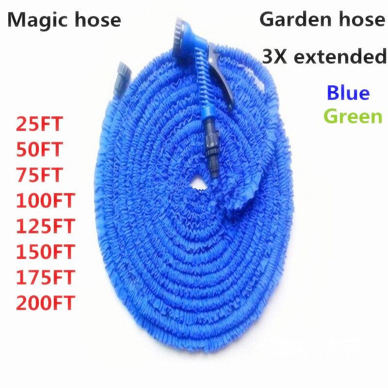 Горячая распродажа расширяемый магия гибкий сад шланг для полива с распылителем сад автомобиль водяной трубы шланги поливочные 25-200 футов