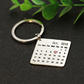 Personalized Engraved Calendar Charm Key Chain Customizd Silver Tag Keepsake Jewelry Memorial Birthday Marks heart Gift