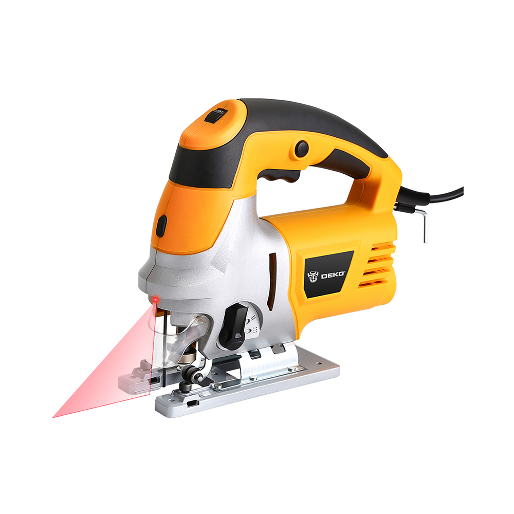 Laser Jig Saw with LED Light, Variable Speed Includes Carrying Case, 6pcs Blades, Metal Ruler, Dust Pipe, Allen Wrench