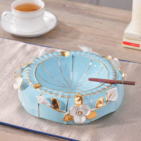 European blue simple ashtray cigarette ashtray large luxury table decor decoration personality