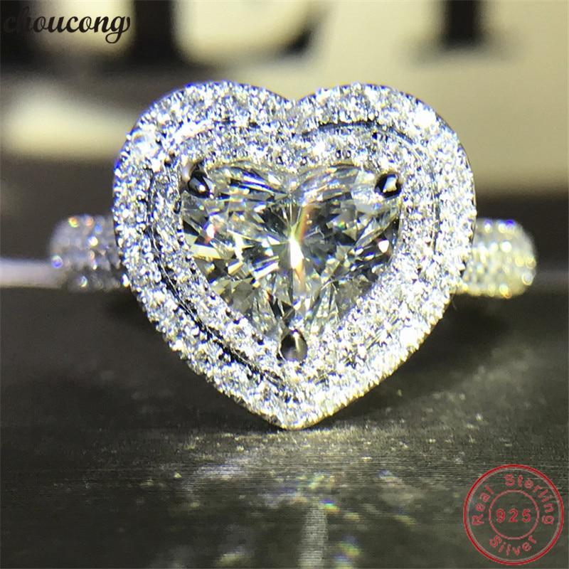 Choucong Genuino argento 925 a Forma di Cuore Promise Ring AAAAA cz di Fidanzamento Wedding Band Anelli Per Le Donne Gioielli Da Sposa
