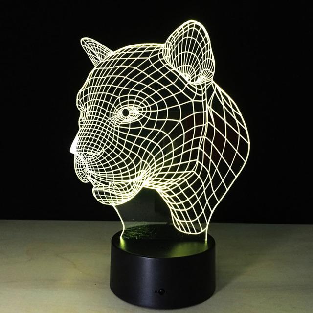 3D Lámpara de Efecto Visual de Luz Interruptor Táctil y Control Remoto de Control de Cambios de Colores Luz de La Noche (Leopardo)