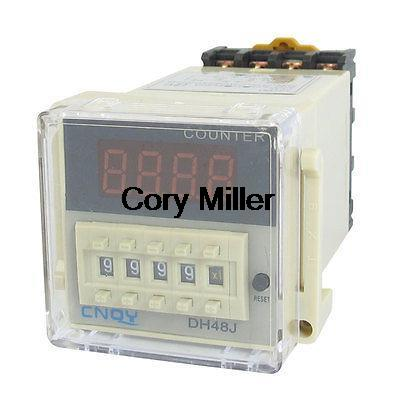 DH48J AC/DC 12V 50/60Hz 1-999900 Panel Mount Digital Counter Relay free shipping dh48j ac dc 24v 50 60hz count up 8 pins 1 999900 digital counter relay