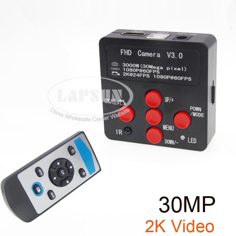 Lapsun 2019 Lastest 30 0MP HD Industrial Lab Microscope Camera 2K 24FPS HDMI 1080P 60FPS HDMI