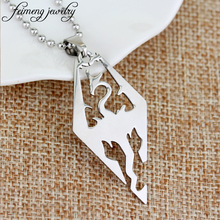 feimeng jewelry The Elder Scrolls V Skyrim Necklace Fashion TES Dragon Pendant Necklace For Men Charm Cool Accessories