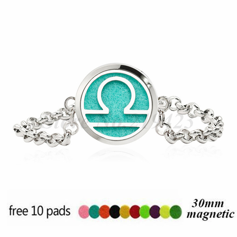 Constellation 30mm Magnet Stainless Steel Essential oil Aromatherapy Perfume Diffuser Locket Chain Bracelet Women 10pcs Pads