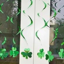 6pcs/lot Hanging Swirls Shamrocks Clovers Irish St Patricks Day Party Decorations