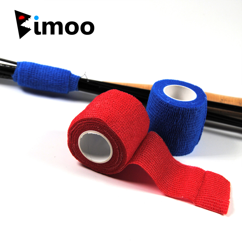 5cmX2.2m Self Sticking Fishing Rod Band Resuable Rod Handle Wrapping Tape Fishing Tackle Box Accessory Black Camouflage Red Blue