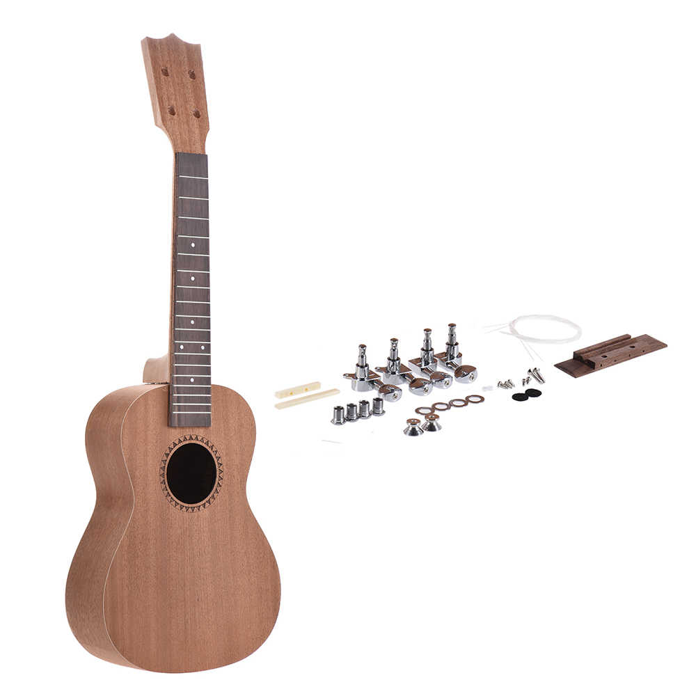 26in Ukulele DIY Kit Tenor Ukelele Hawaii Gitar DIY Kit Sapele Kayu Tubuh Rosewood Fingerboard DENGAN Pasak String Jembatan Nut