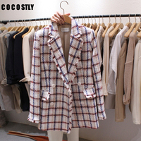 Classic Plaid Double Breasted Blazer Women Tweed Jacket Blazer Notched Collar Female Suits Coat Fashion Houndstooth 2019 Spring